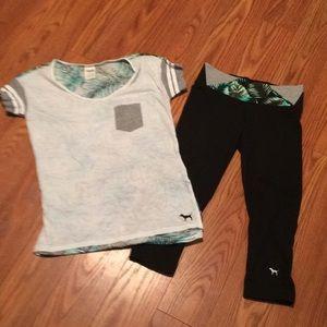 PINK Outfit-yoga capris& t shirt